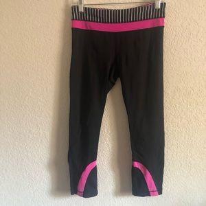 Lululemon Inspire Crop II Black White Pink Size 6